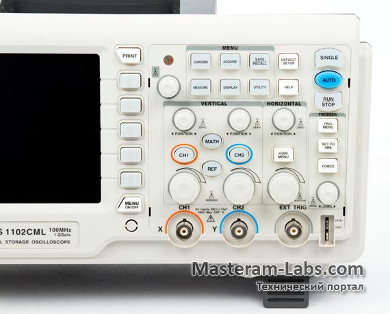 Панель управления цифрового осциллографа ATTEN ADS1102CML