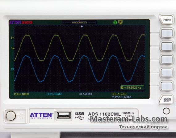 Дисплей цифрового осциллографа ATTEN ADS1102CML